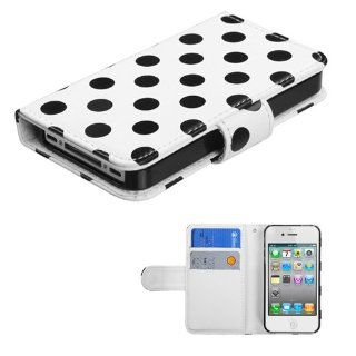 IMAGITOUCH(TM) 4 Item Combo APPLE iPhone 4S 4 Black Polka Dots White Frosted Book Style Wallet Case with Credit Card Slot (with card slot) (756) (Stylus pen, ESD Shield bag, Pry Tool, Phone Cover) Cell Phones & Accessories