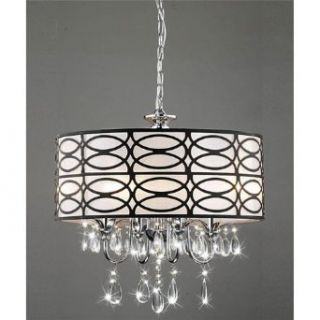 Round Drum 4 light Antique Bronze Crystal Chandelier Pendant, Chrome Finish