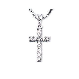 14K White Gold Diamond Cross Pendant (chain NOT included) Jewelry