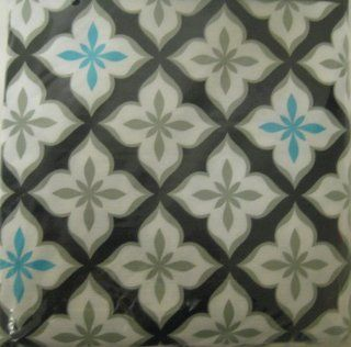 Black, White, Aqua Blue Flower Peva Tablecloth (52in X 70in)   Striped Tablecloth