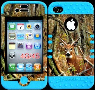 Bumper Case for Apple Iphone 4 4s Camo Mossy Real Deer Hunter Series Design Hard Plastic Snap on Light Blue Silicone Gel Cell Phones & Accessories