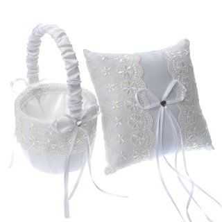 Artwedding Satin and Lace Wedding Accessory Set Flower Girl Basket and Ring Pillow with Bow, White, One Size