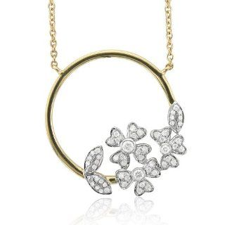14k Two Tone Gold Circle Flower Diamond Pendant Necklace (GH, I1 I2, 0.37 carat) Diamond Delight Jewelry