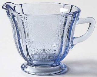 Indiana Glass Recollection Blue Creamer   Blue,Pressed,Scroll Design