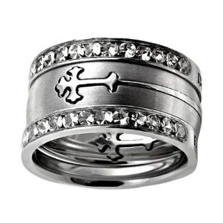 "Christian Womens Stainless Steel 10mm Abstinence 3 Ring Crown of Thorns Silver Double Orthodox Cross Tiara Chastity Ring for Girls   1 Black Double Cross Orthodox Cross Ring   Cross Slides In & Out of the Ring Like a Puzzle, 2 ""All Things Through"