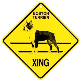 KC Creations Boston Terrier Xing Caution Crossing Sign Dog Gift
