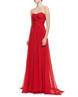 Womens Strapless Ruched Bodice Gown, Red   Badgley Mischka Collection