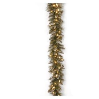 9 ft. Glittery Bristle Pine Pre Lit LED Garland   Christmas Garland