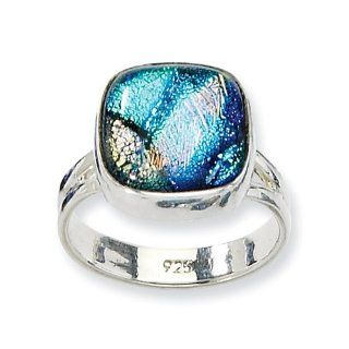 Sterling Silver Blue Dichroic Glass Ring Dichroic Jewelry