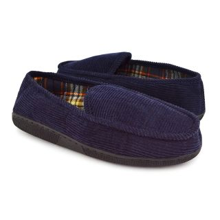 Muk Luks Men's Corduroy Moccasin Slippers with Flannel Lining   Navy   Mens Slippers