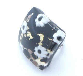 Black Gold Flower Curved Venetian Murano Glass Adjustable Ring Jewelry