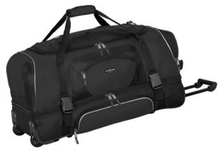 Travelers Club 36 in. 2 Section Drop Bottom Rolling Duffel Bag   Black   Sports & Duffel Bags
