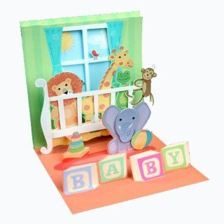 New Baby Greeting Card   Baby Crib Animals Pop Up Health & Personal Care