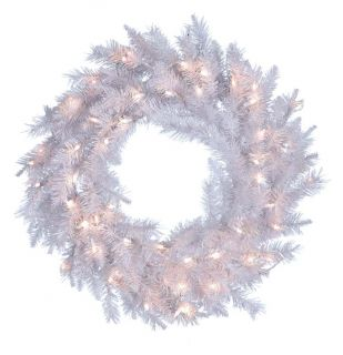 30 in. Pre Lit Crystal White Wreath with Clear Lights   Christmas Wreaths