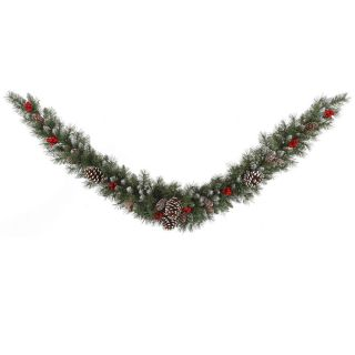 Vickerman 6 ft. Pre Lit Frosted Tip Berry Swag Garland   Christmas Garland