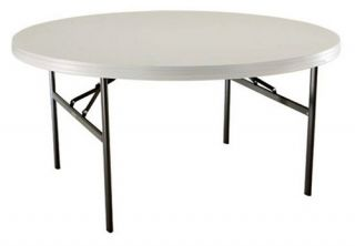 Lifetime 60 in. Round Commercial Folding Table   White   Banquet Tables