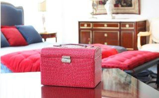 Hot Sale Brand New High Quality Red Leatherette Jewelry Case Storage Box Watch Box Cosmetic Case Beauty