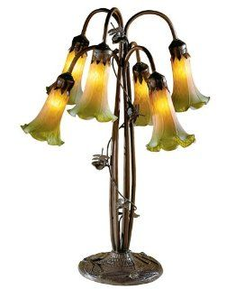 Dale Tiffany 1740/829 6 Light Dragonfly Lily Table Lamp, Bronze and Blown Glass Shade