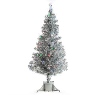 Silver Clover Medium Fiber Optic Pre lit Christmas Tree   5 ft.   Multicolor   Christmas Trees