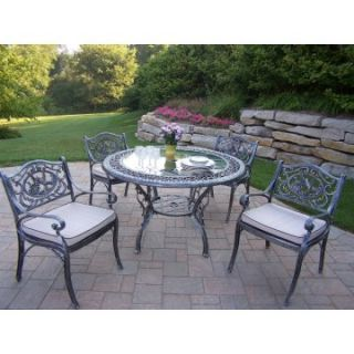 Oakland Living Mississippi Cast Aluminum 48 in. Glass Top Hummingbird Patio Dining Set   Patio Dining Sets