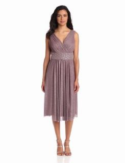 Jessica Howard Women's Surplice Bodice Dress With Beaded Waist, Taupe, 16
