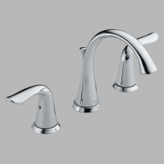 Delta Lahara 3538 Double Handle Widespread Bathroom Sink Faucet with All Metal Pop up Drain and Diamond Valve   Bathroom Sink Faucets