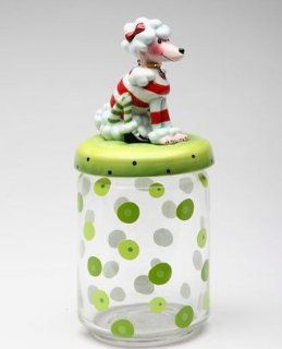 White POODLE Dog Glass Candy or Cookie Jar RUBY by Babs Kitchen & Dining
