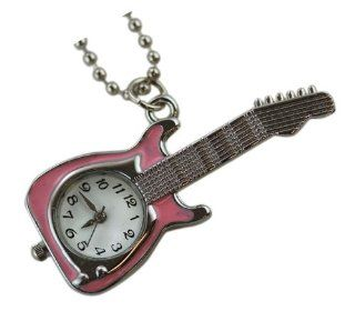 Silver Pink Guitar Charm Watch Necklace   Pendant Watch Necklace Watches