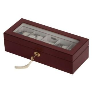 Mele Chase Walnut Locking Glass Top Watch Box   11.25W x 3.13H in.   Watch Winders & Watch Boxes