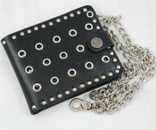 Mens Black Leather Wallet with Chain WA79