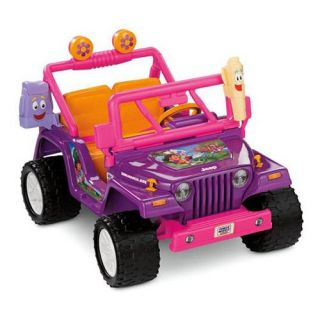 Fisher Price Power Wheels Dora Jeep Wrangler Battery Powered Riding Toy   Battery Powered Riding Toys