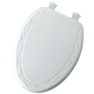 Mayfair 134EC 000 Ivy Sculptured Molded Wood Toilet Seat with Lift Off Hinges, Elongated, White