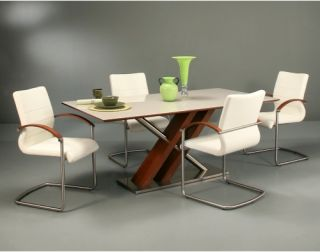 Pastel Furniture Charlize 5 Piece Walnut Dining Table Set with Akasha Chairs   Ivory   Dining Table Sets