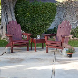 Pair of Cape Maye Weathered Adirondack Chairs with Side Table   3 Piece Set   Barn Red   Adirondack Chairs