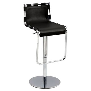 Chintaly Kinsley Strap Back Pneumatic Gas Lift Adjustable Height Swivel Bar Stool   Bar Stools