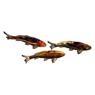 Koi Fish Indoor / Outdoor Light Reflective Wall Art   Set of 3   Outdoor Wall Art