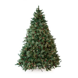 Classic Full Pre lit Christmas Tree with Berries and Pine Cones   7.5 ft.   Clear   Christmas Trees