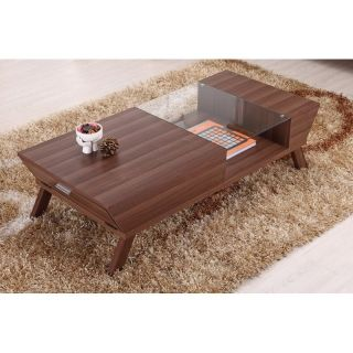 Furniture of America Baxter Modern Glass Top Coffee Table   Medium Wood   Coffee Tables