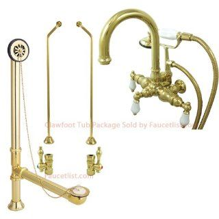 Polished Brass Wall Mount Clawfoot Tub Faucet w hand shower Package   Bathtub Faucets