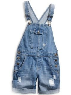 GUESS Kids Girls Big Girl Vintage Wash Denim Shortalls, MEDIUM STONE (14) Clothing