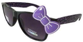 Sanrio Hello Kitty Cheetah Print Style Inspired Wayfarer Sunglasses   Black/Purple with Purple Bow Sports & Outdoors