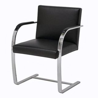 Alphaville Design Canti Flat Arm Leather Chair   Leather Club Chairs