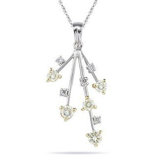 0.40 Cts Diamond Pendant in 18K Two Tone Gold Necklaces Jewelry