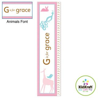 KidKraft Personalized Girls Growth Chart   Animals   Kids and Nursery Wall Art