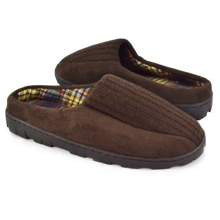 Muk Luks Men's Ribbed Scuff Slippers with Berber Lining   Mens Slippers