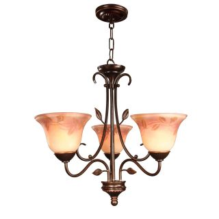 Dale Tiffany Leaf Vine Hand Painted 3 Light Chandelier   24 watt in. Antique Golden Sand   Tiffany Ceiling Lighting