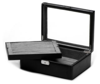 Deluxe Black Leather Cufflinks Collector's Case   11W x 3.5H in.   Mens Jewelry Boxes