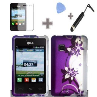 Rubberized Purple Silver Vines flower Snap on Design Case Hard Case Skin Cover Faceplate with Screen Protector, Case Opener and Stylus Pen for LG 840g   StraightTalk/ Net 10/ Tracfone Cell Phones & Accessories