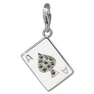 SilberDream Charm playing card spade ass, white enameled with white zirconia, 925 Sterling Silver Charms Pendant with Lobster Clasp for Charms Bracelet, Necklace or Earring FC841W Clasp Style Charms Jewelry