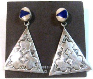 Navajo Earrings .925 Sterling Silver with Lapis Native American  Other Products